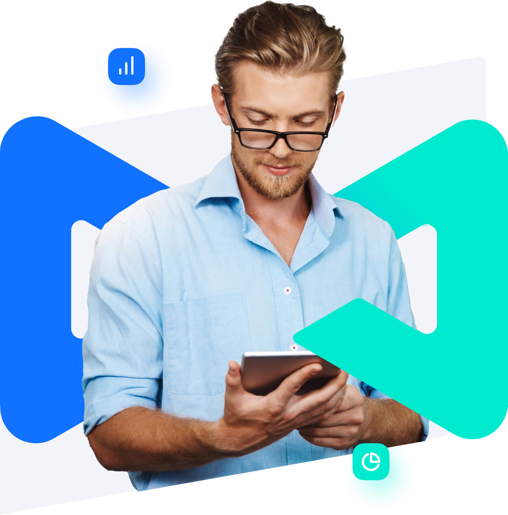 man with glasses on looking at his ipad to check his accounting, with the project alfred logo wrapping around him slightly.